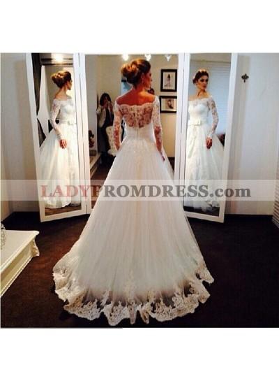 Elegant A Line Long Sleeves Off Shoulder Lace Bowknot 2020 Wedding Dresses