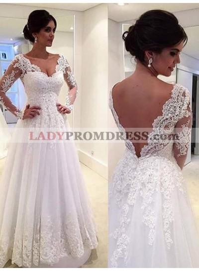 2020 Elegant A Line Long Sleeves Sweetheart Lace Wedding Dresses
