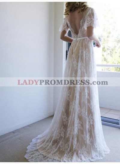 2020 Elegant A Line V Neck Lace Backless Capped Sleeves Wedding Dresses