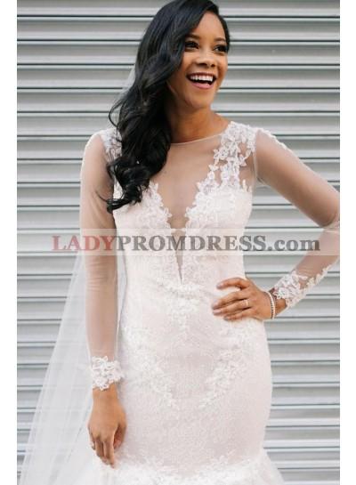 Sexy Mermaid Long Sleeves Lace Ruffles Pleated Wedding Dresses 2021