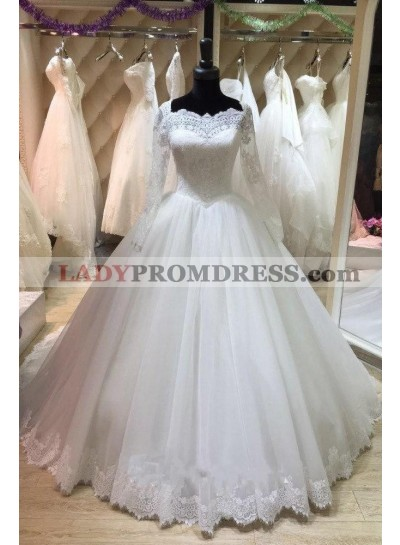 Elegant Long Sleeves Lace White Ball Gown Lace Up Back Wedding Dresses 2020
