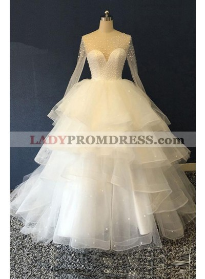 2020 New Designer Long Sleeves Tulle Ruffles Pearls Sweetheart Lace Up Back Ball Gown Wedding Dresses