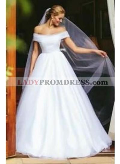 2021 Elegant A Line Off Shoulder White Tulle Long Wedding Dresses