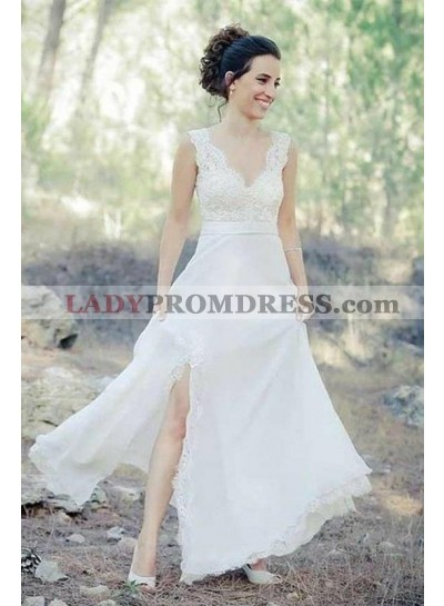 Classic A Line Side Slit Lace Sweetheart Floor Length Outdoor Wedding Dresses 2021