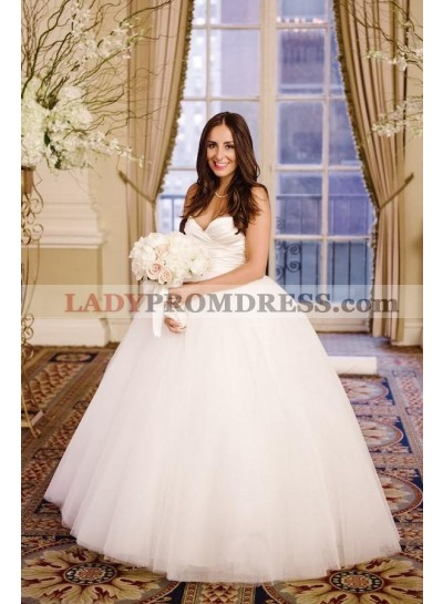2021 Elegant Sweetheart Simple Tulle Pleated Ball Gown Wedding Dresses