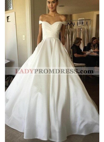 2021 Classic A Line Satin Ivory Off Shoulder Sweetheart Wedding Dresses