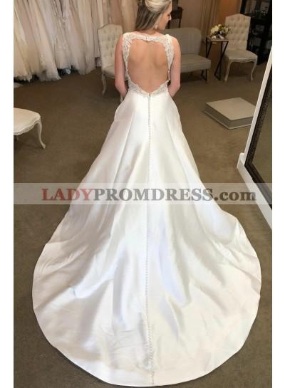 New Design A Line Backless Lace Satin V Neck Satin 2020 Long Wedding Dresses
