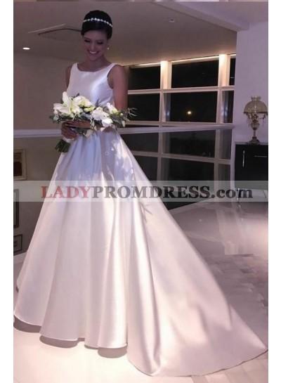 2021 Classic Satin A Line Backless Bateau Neck Long Wedding Dresses