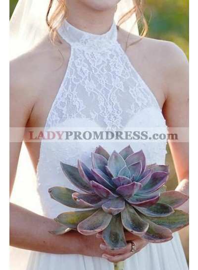 2021 New Arrival A Line Backless Halter Lace Sweetheart Chiffon Outdoor Wedding Dresses