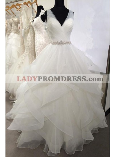 2020 New Arrival Sweetheart Organza Ruffles Backless Pleated Ball Gown Wedding Dresses