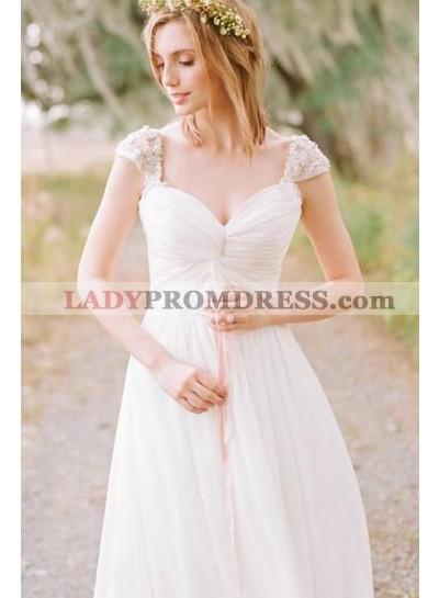 2021 Cheap Chiffon Sweetheart Capped Sleeves Beaded A Line Beach Wedding Dresses