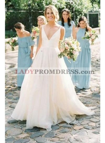 Amazing A Line Chiffon V Neck Backless Long Outdoor Wedding Dresses 2021