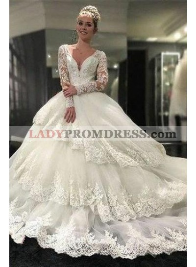 2021 Luxury A Line Layered Long Sleeves Sweetheart Long Lace Wedding Dresses 2021