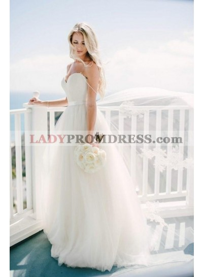 Charming Sweetheart Tulle Spaghetti Straps A Line 2020 Wedding Dresses