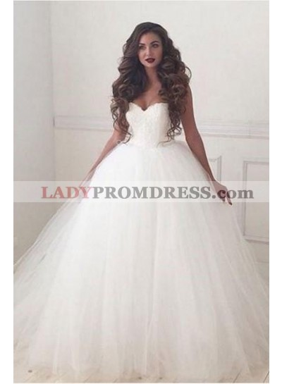 2020 Newly Sweetheart Lace Up Back Tulle Ball Gown Wedding Dresses
