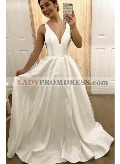 2019 Classic A Line Satin V Neck Ivory Sleeveless Wedding Dresses