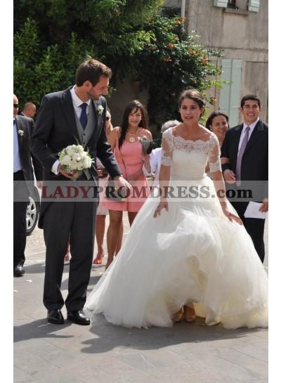 2020 Elegant A Line Tulle Off Shoulder Lace Wedding Dresses With Short Sleeves