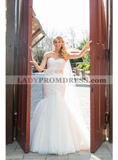 2020 Charming Sweetheart Mermaid Tulle Sleeveless Detachable Belt Ivory Wedding Dresses 2020