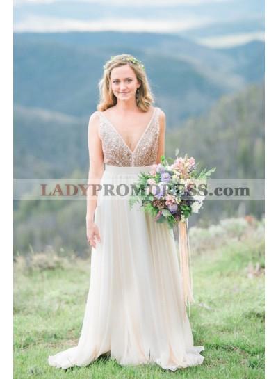 2021 Elegant A Line Deep V Neck Chiffon Ivory Sequence Long Outdoor Wedding Dresses