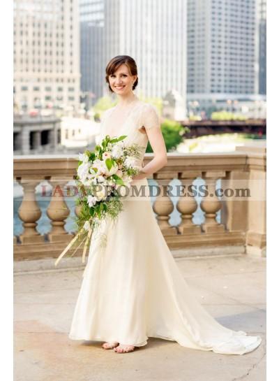2020 Elegant A Line Deep V Neck Chiffon Lace With Short Sleeves Wedding Dresses