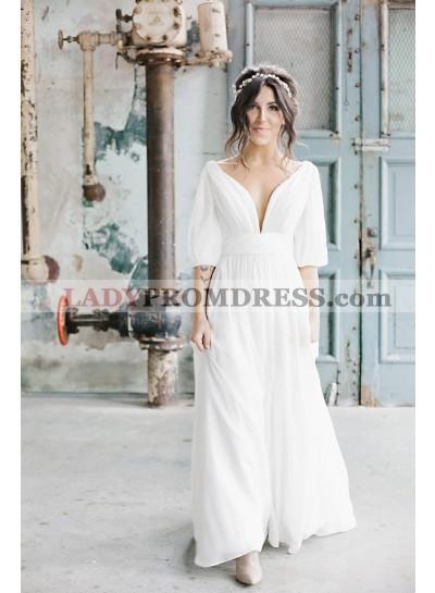 2021 New Arrival A Line Deep V Neck Chiffon White Long Sleeves Backless Long Beach Wedding Dresses
