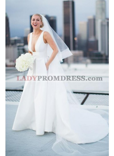Charming A Line Satin Deep V Neck Long Train With Pockets Wedding Dresses 2021