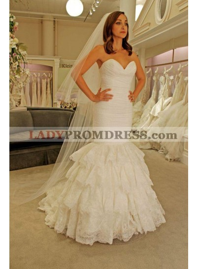 2021 New Arrival Mermaid Sweetheart Ruffles Pleated Lace Sleeveless Wedding Dresses