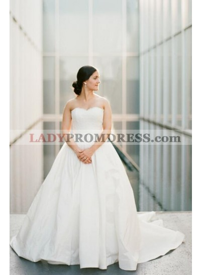 2021 Ivory Strapless Sweetheart Satin Simple Ball Gown Wedding Dresses