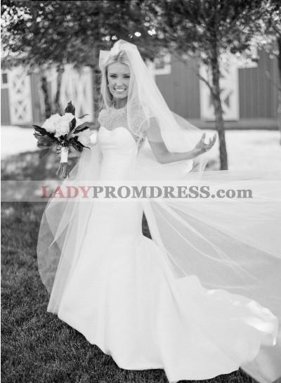 Amazing Satin Mermaid Capped Sleeves Pearls Backless Long Wedding Dresses 2021