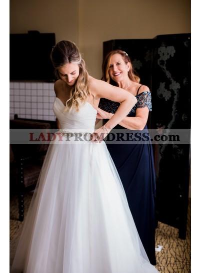 2020 Elegant A Line White Tulle Sweetheart Beaded Belt Wedding Dresses