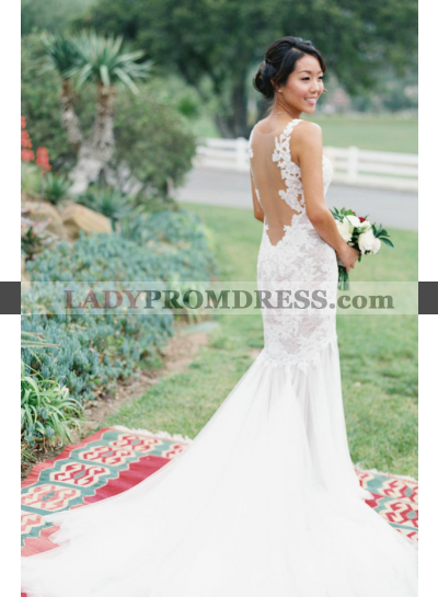 2021 New Arrival Sheath Sweetheart Tulle Lace Backless Long Wedding Dresses