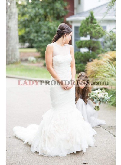 2021 New Designer Tulle Mermaid Ruffles Sweetheart Long Pleated Wedding Dresses