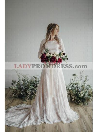 2020 Elegant A Line Long Sleeves Lace Long Round Neck Wedding Dresses
