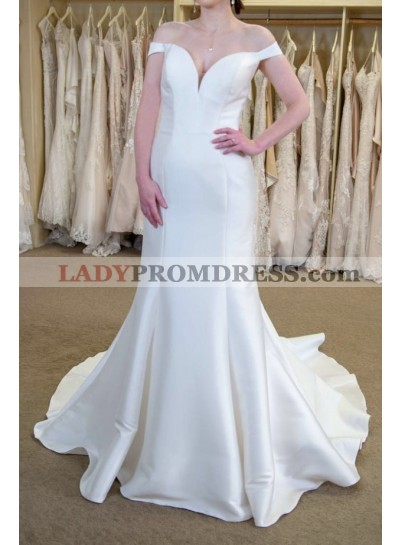 2021 Classic Off Shoulder Satin Sheath Sweetheart Long Wedding Dresses