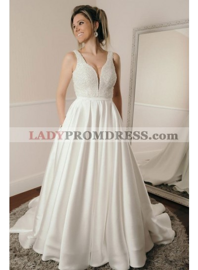 2021 New Arrival A Line Sweetheart Satin Beaded Long Wedding Dresses