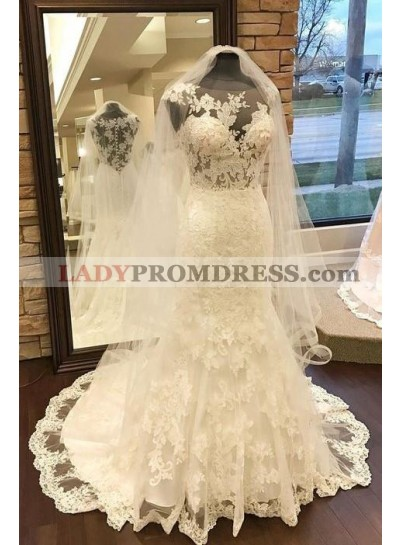 2020 New Arrival Sheath Sweetheart Lace Round Neck Wedding Dresses