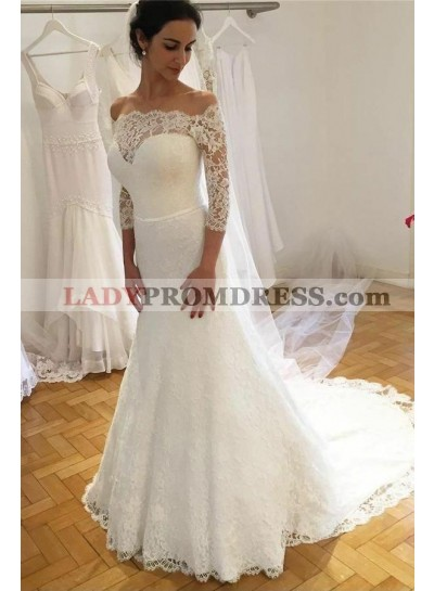 2021 Elegant Sheath Long Sleeves Lace Off Shoulder Sweetheart Long Wedding Dresses