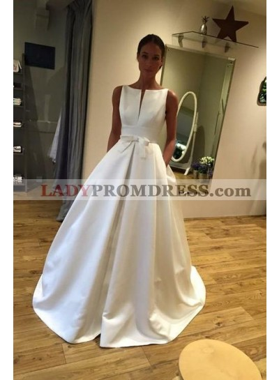 A Line Classic Satin Bateau Bowknot Long Wedding Dresses 2020