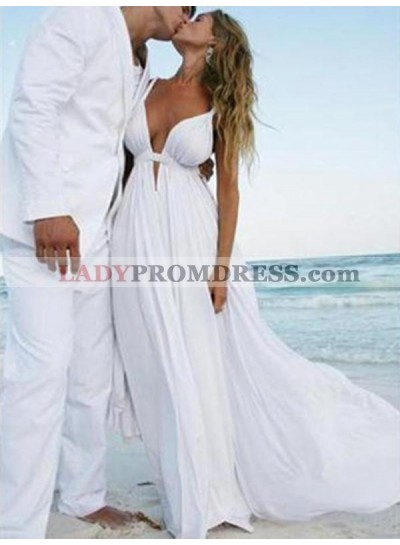 Amazing A Line Chiffon Sweetheart Cheap Backless Beach Wedding Dresses 2020