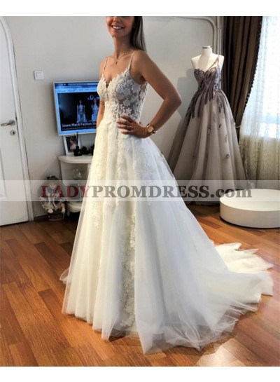 Cheap A Line Tulle Ivory Sweetheart With Straps Wedding Dresses 2019