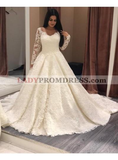 2020 Ivory A Line Long Sleeves Sweetheart Lace Long Wedding Dresses