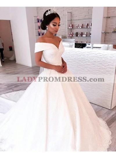 2020 A Line Elegant Off Shoulder Sweetheart Capped Sleeves Satin Long Lace Wedding Dresses