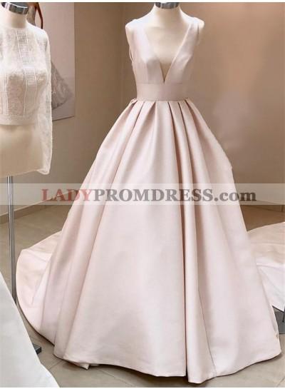 Simple A Line Deep V Neck Ivory 2020 Long Wedding Dresses