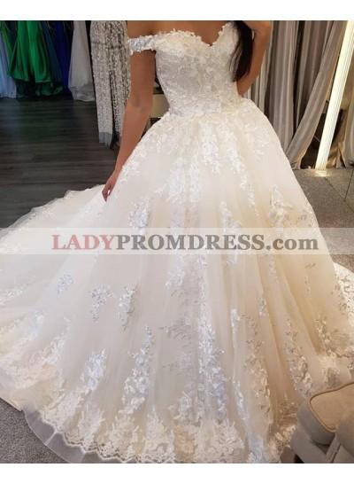 2020 New Designer Off Shoulder Sweetheart Lace Up Back Long Wedding Dresses