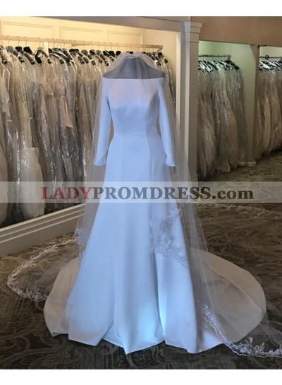 2021 New Arrival A Line Satin Off Shoulder Long Sleeves Long Wedding Dresses