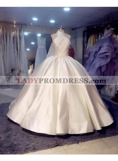 2020 Luxury Halter Satin Ball Gown Ivory Long Backless Wedding Dresses