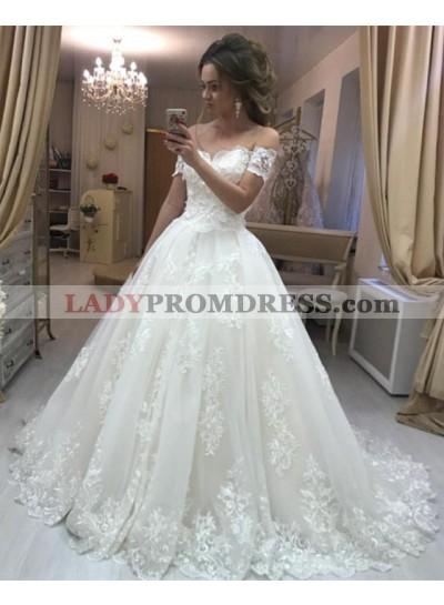 Elegant A Line Off Shoulder V Neck Lace Wedding Dresses With Short Sleeves 2021