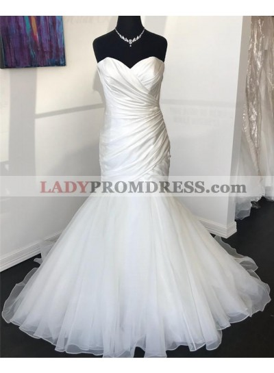 2021 Sexy Mermaid Organza With Satin Sweetheart Pleated Wedding Dresses