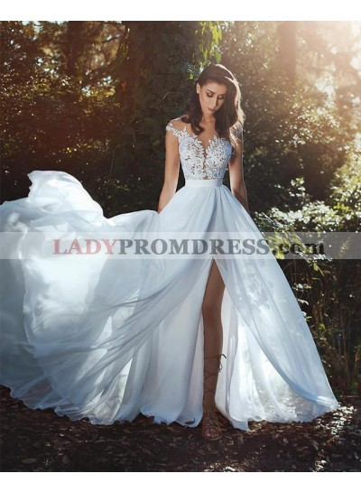 2020 New Arrival A Line Chiffon Side Slit Capped Sleeves Beach Wedding Dresses