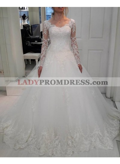2021 New Arrival A Line Sweetheart Long Sleeves White Lace Up Back Long Wedding Dresses